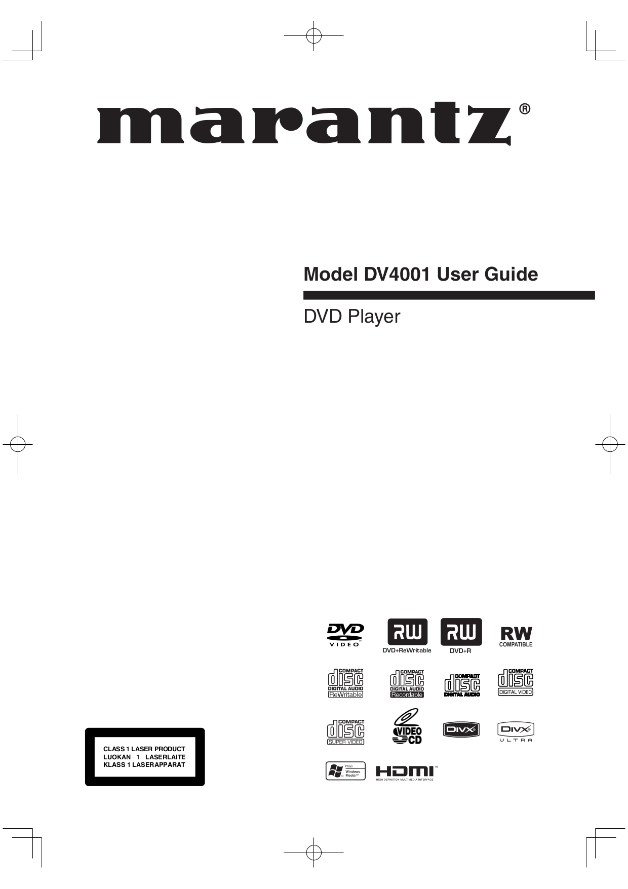 Download free pdf for Marantz DV4001 DVD Players manual