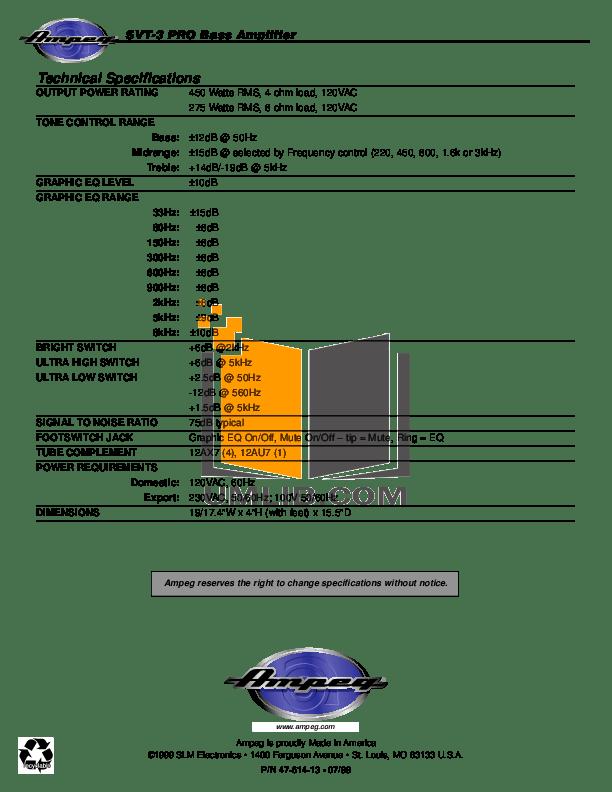 PDF manual for Ampeg Amp SVT-2 PRO