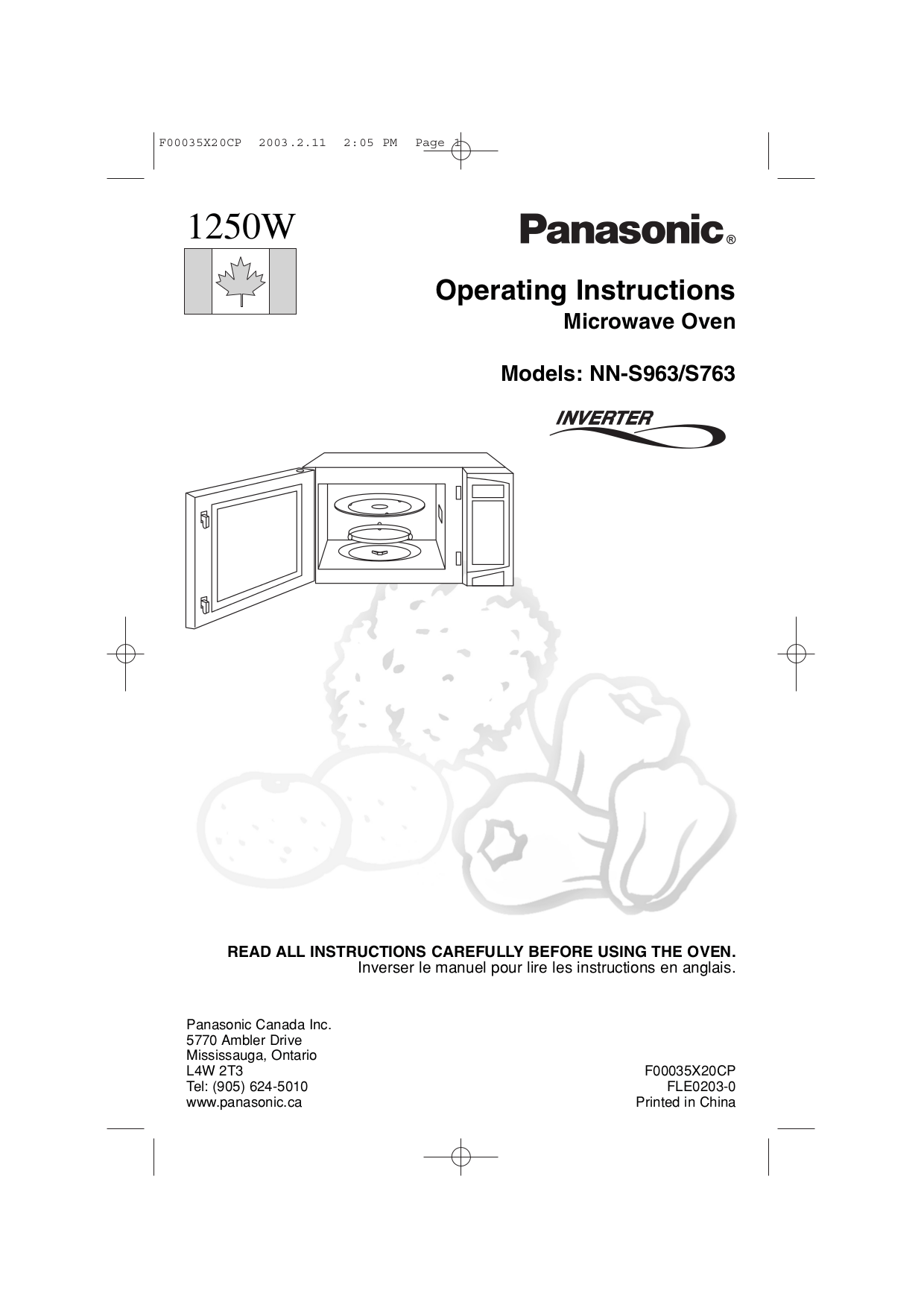 PDF manual for Panasonic Microwave NN-S763