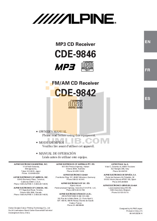 Download free pdf for Alpine CDE-9846 Car Receiver manual