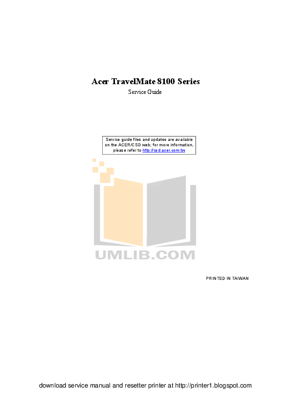 Download free pdf for Acer TravelMate 8102 Laptop manual