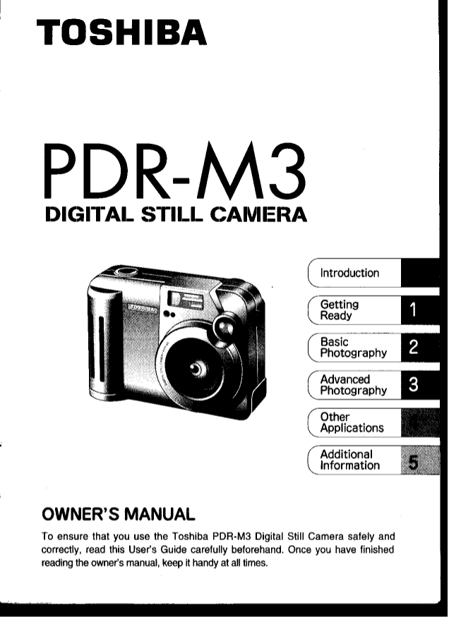 Download free pdf for Toshiba PDR-M3 Digital Camera manual