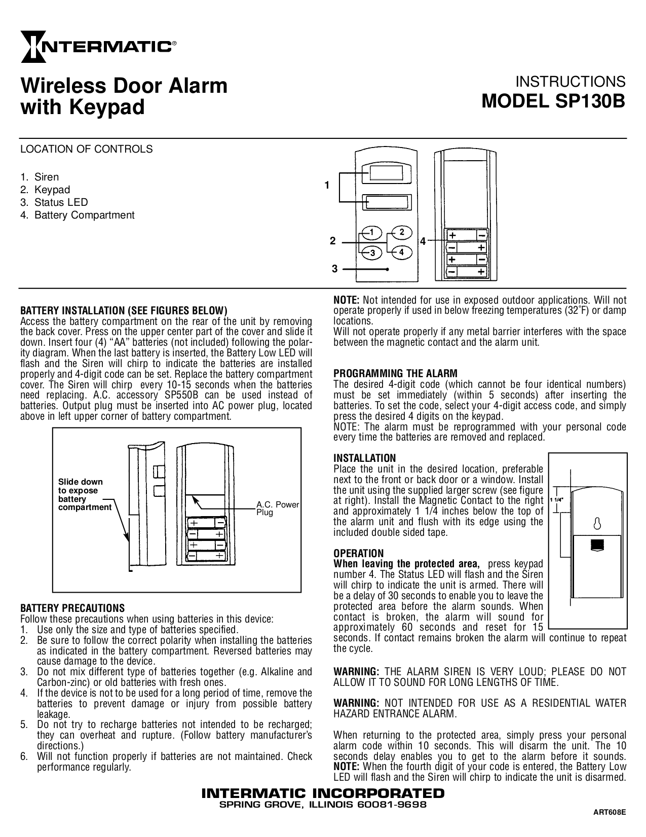 Download free pdf for Intermatic SP130B Door Alarms Other