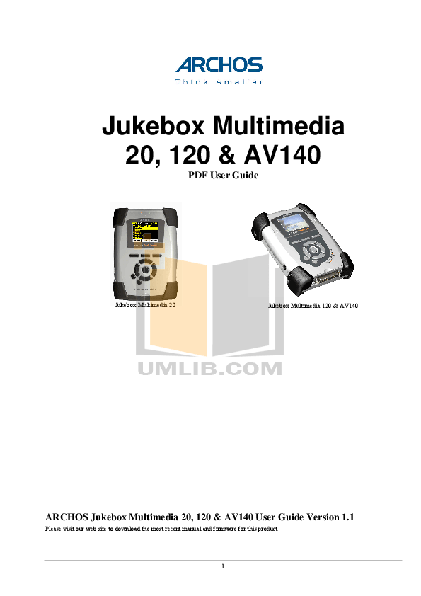 Download free pdf for Archos Jukebox Jukebox Multimedia