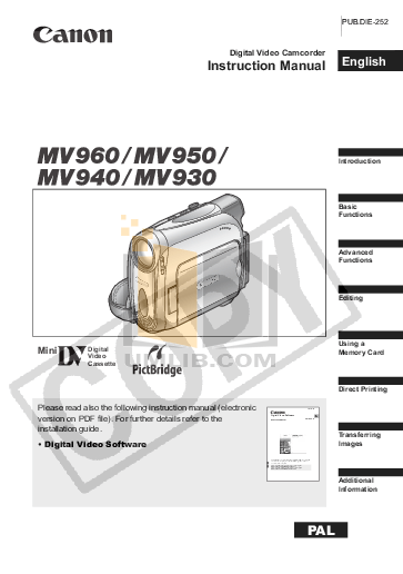 Download free pdf for Canon MV930 Camcorders manual