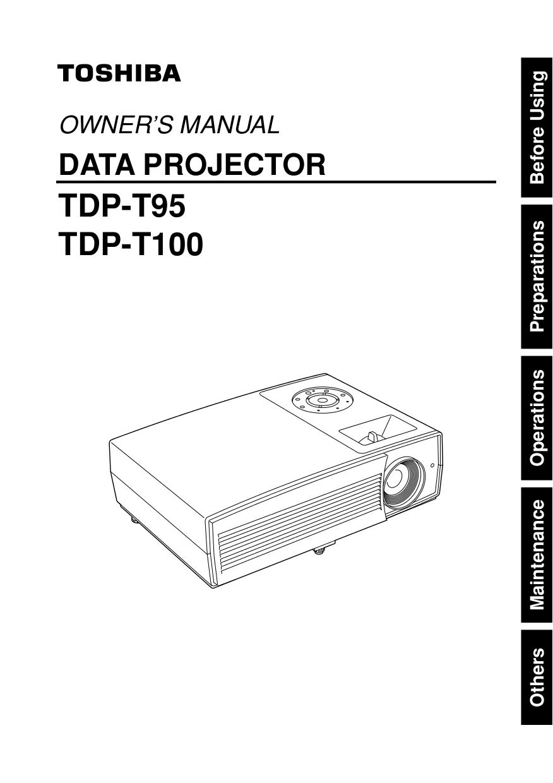 Download free pdf for Toshiba TDP-T100U Projector manual