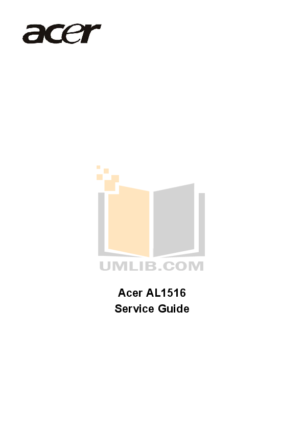 Download free pdf for Acer AL1516 Monitor manual