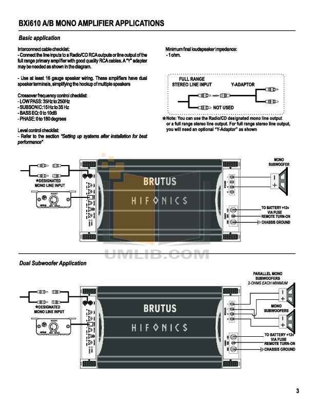 PDF Manual For Hifonics Car Amplifier Brutus BXI 1610D