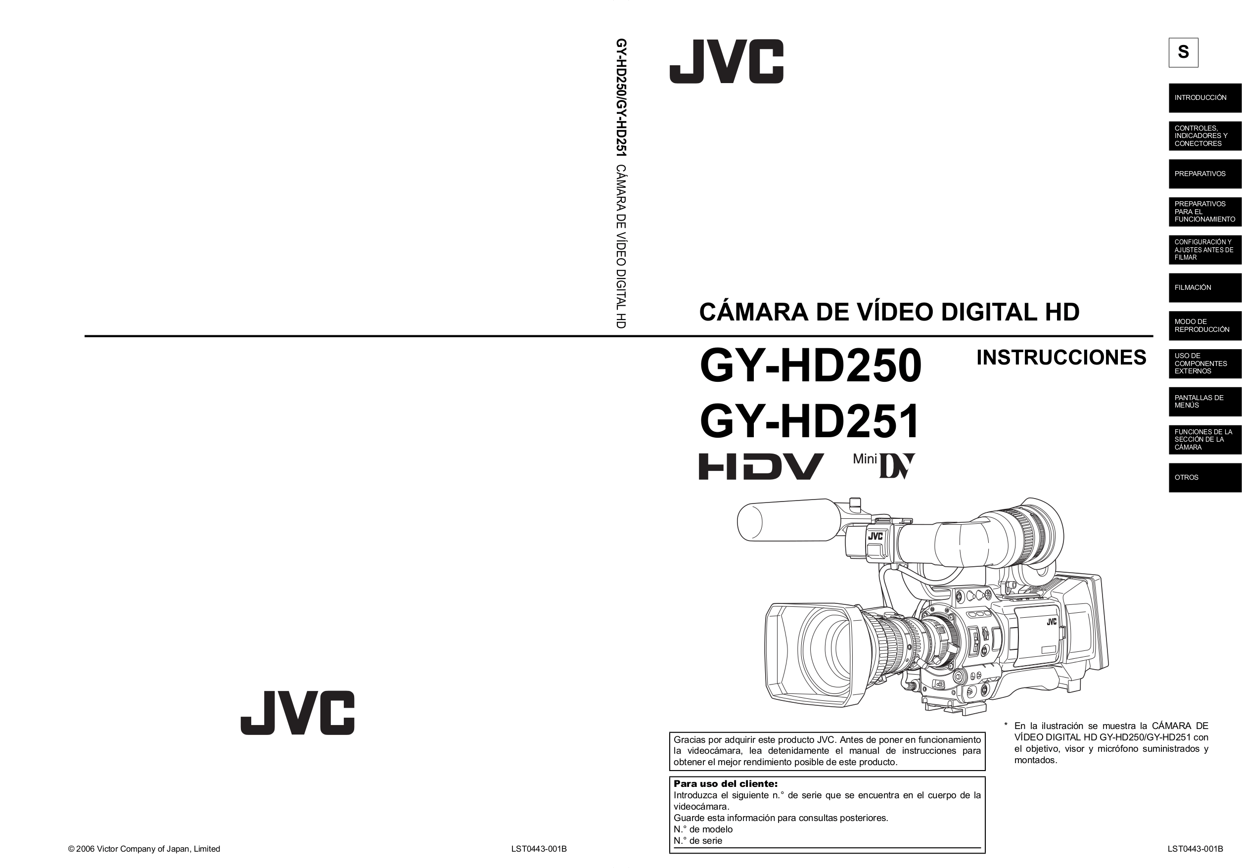 Download free pdf for JVC GY-HD251 Camcorders manual