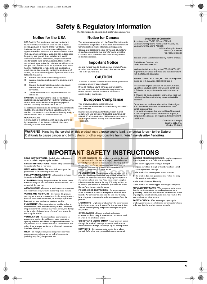 Download free pdf for Creative DDTS-100 DECODER Other manual
