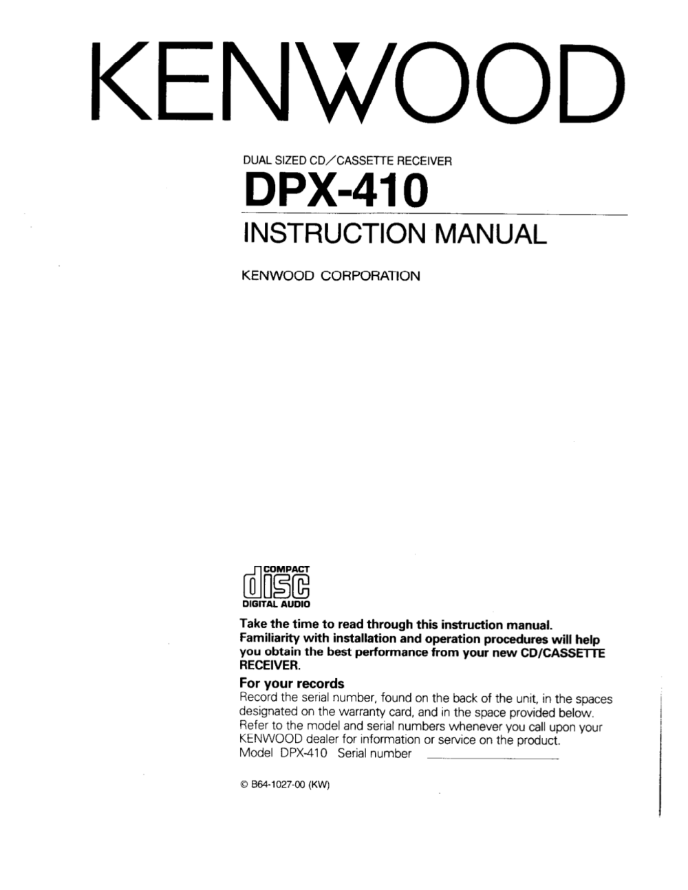 medium resolution of pdf for kenwood car receiver dpx 410 manual