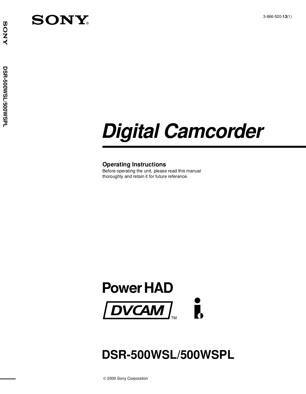 Download free pdf for Sony DSR-1500A Camcorders manual
