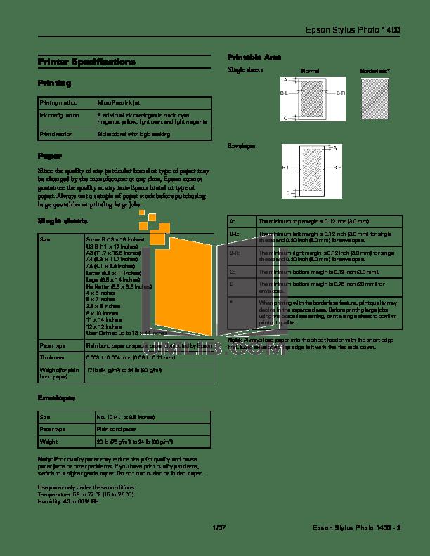 PDF manual for Epson Printer Stylus Photo 1400