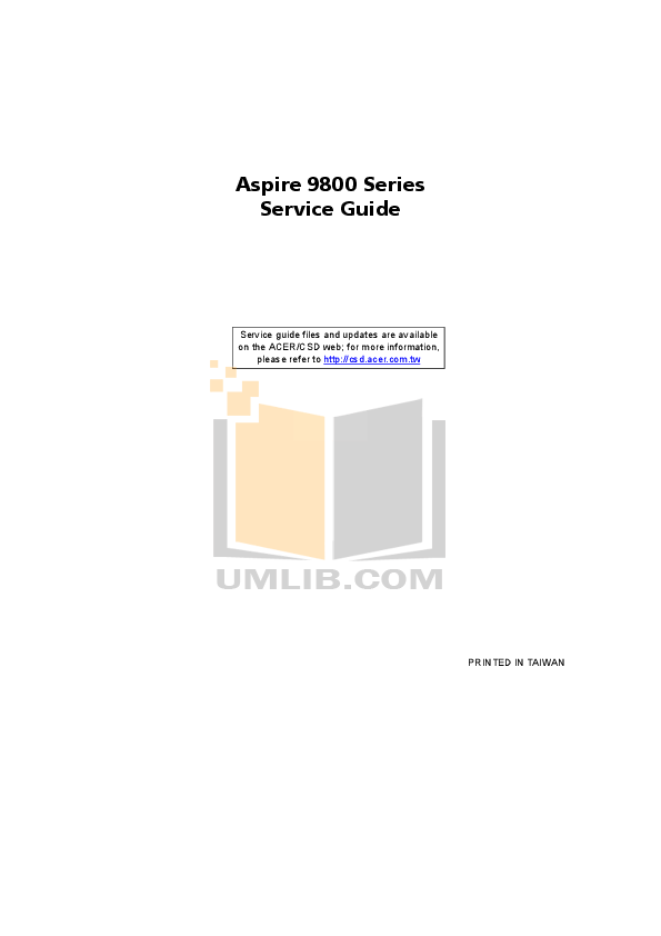 Download free pdf for Acer Aspire 9800 Laptop manual