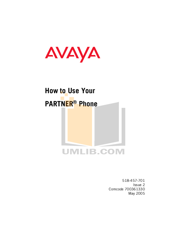 Download free pdf for Avaya Partner MLS 34D Telephone manual
