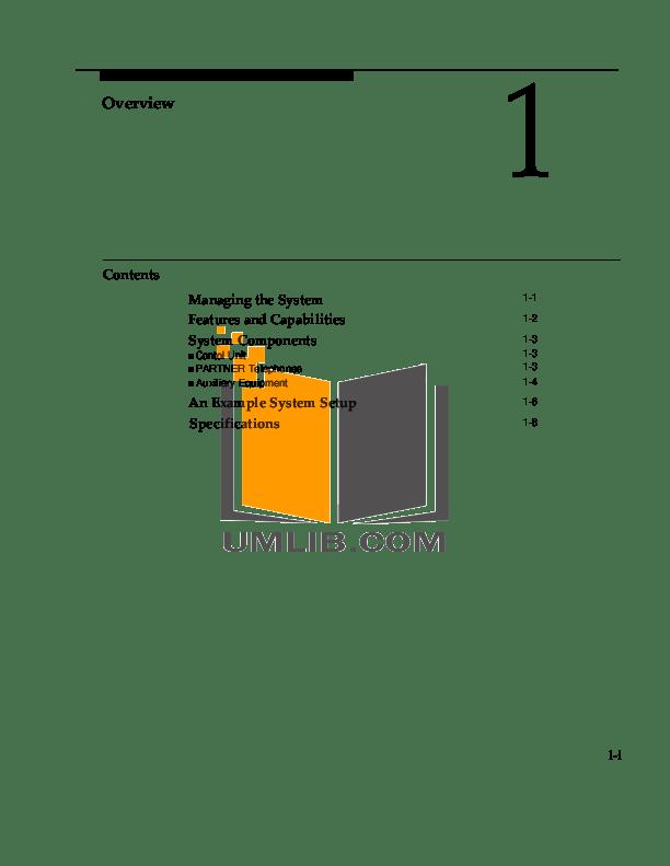 PDF manual for Avaya Telephone Partner MLS 34D