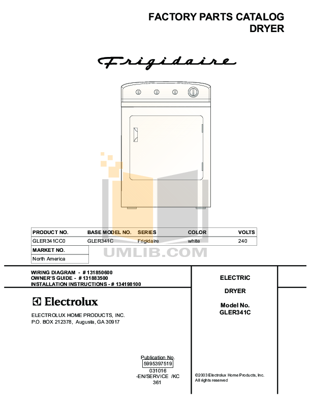 PDF manual for Frigidaire Dryer GLER341CC0