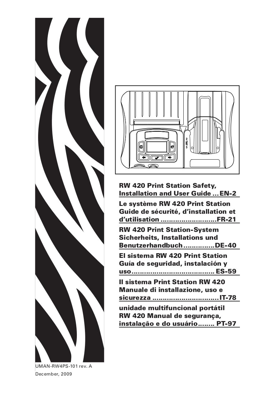 Download free pdf for Zebra RW420 Printer manual