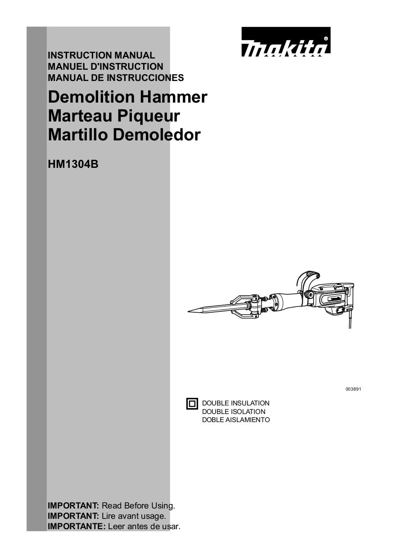 Download free pdf for Makita HM1304B Demolition Hammer