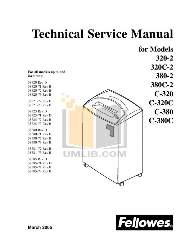 Download free pdf for Fellowes C-380 Shredders Other manual