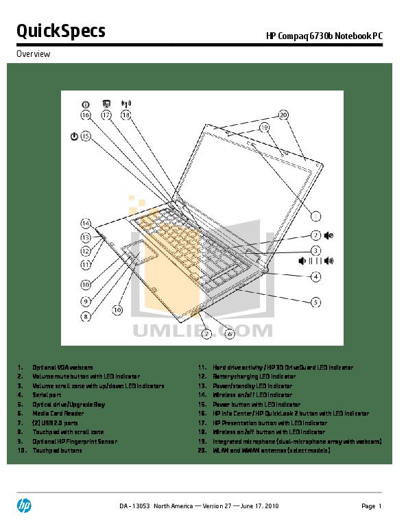 Download free pdf for HP Compaq 6730b Laptop manual