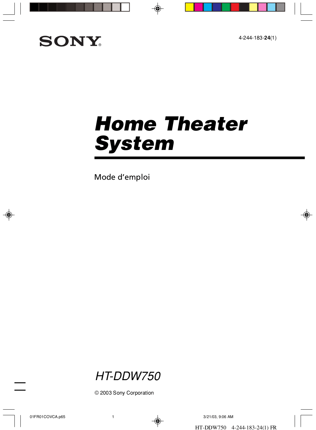 Download free pdf for Sony STR-DE325 Receiver manual