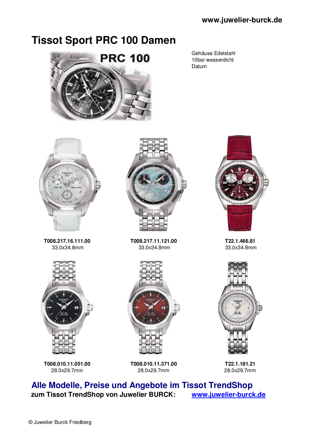 PDF manual for Tissot Watch T011.417.17.207.00