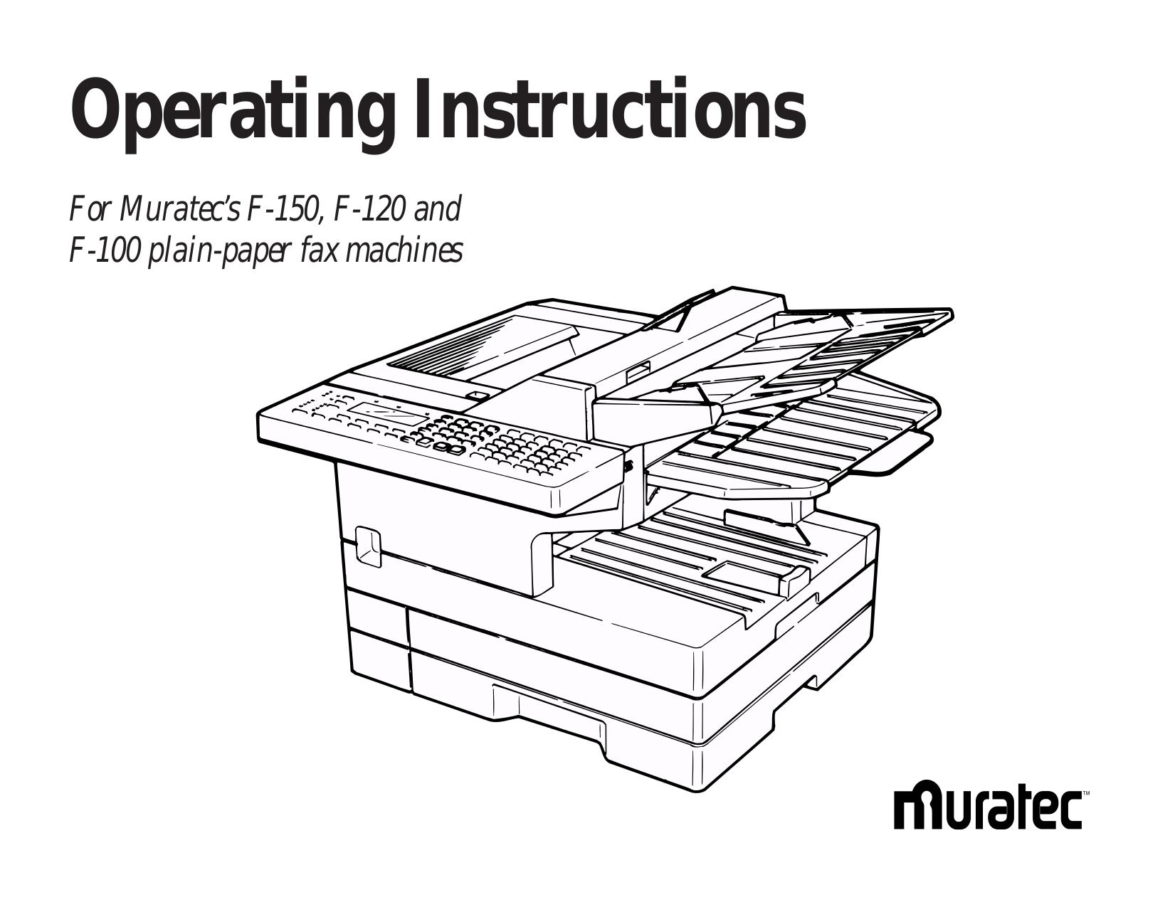Download free pdf for Muratec F-100 Fax Machine manual