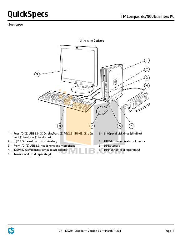Download free pdf for HP Compaq dc7900 USDT Desktop manual