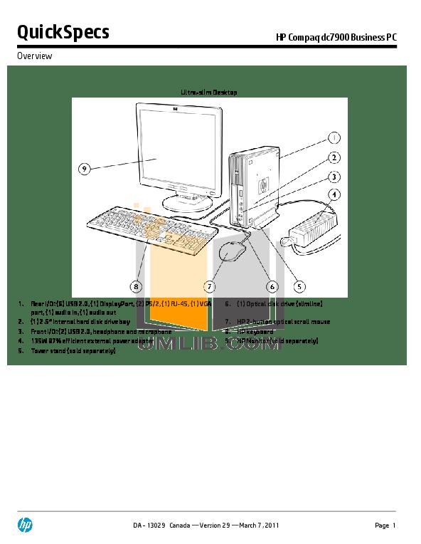 Download free pdf for HP Compaq dc7900 USDT Desktop manual
