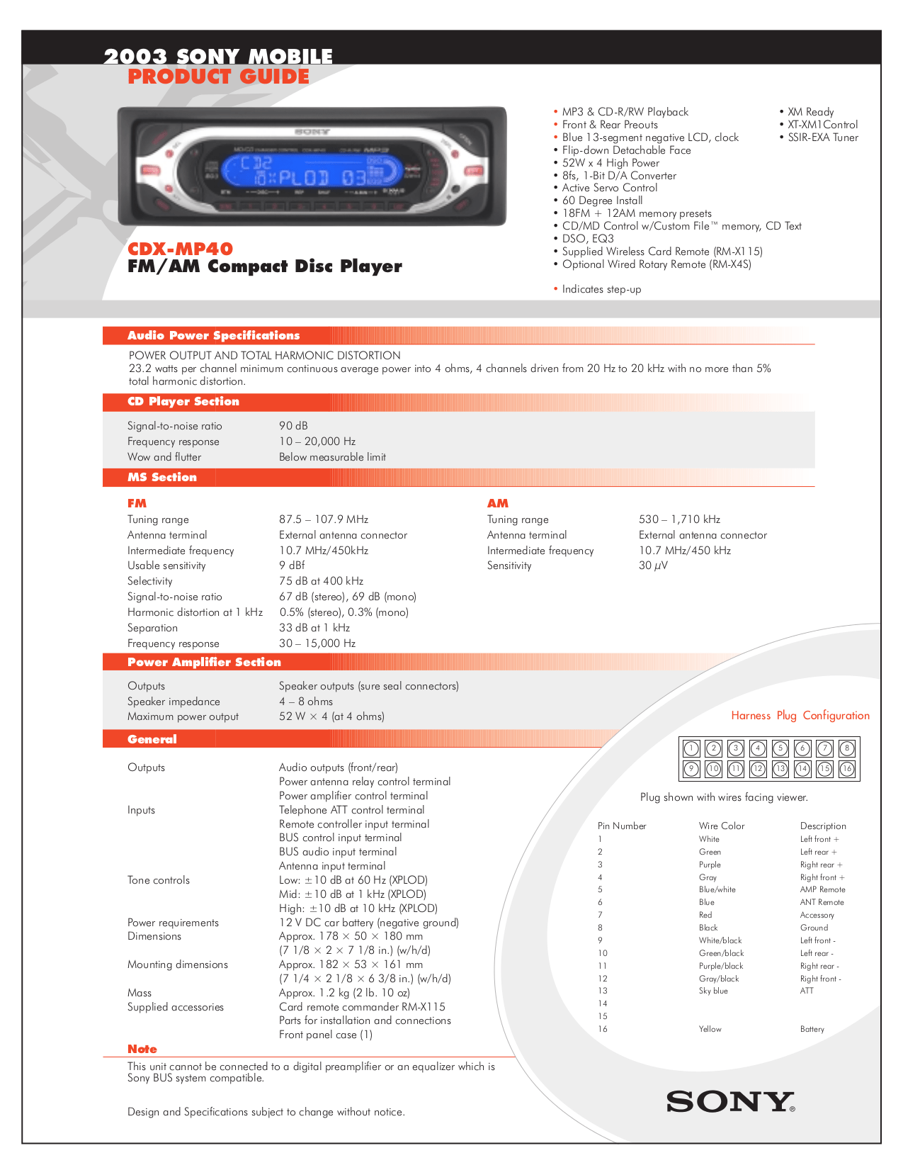 hight resolution of download free pdf for sony cdx mp40 car receiver manual rh umlib com sony xplod wiring diagram sony cdx mp40 wiring diagram