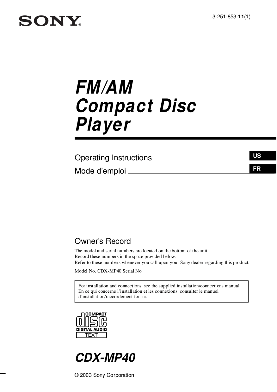 medium resolution of pdf for sony car receiver cdx mp40 manual