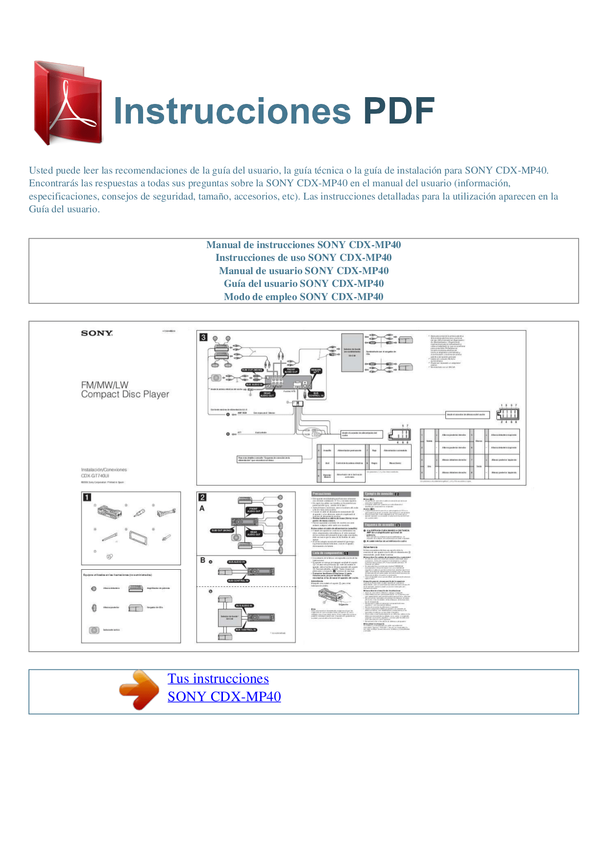 hight resolution of pdf for sony car receiver cdx mp40 manual