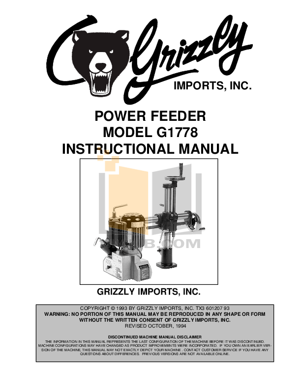 Download free pdf for Grizzly G1778 Power Feeder Other manual
