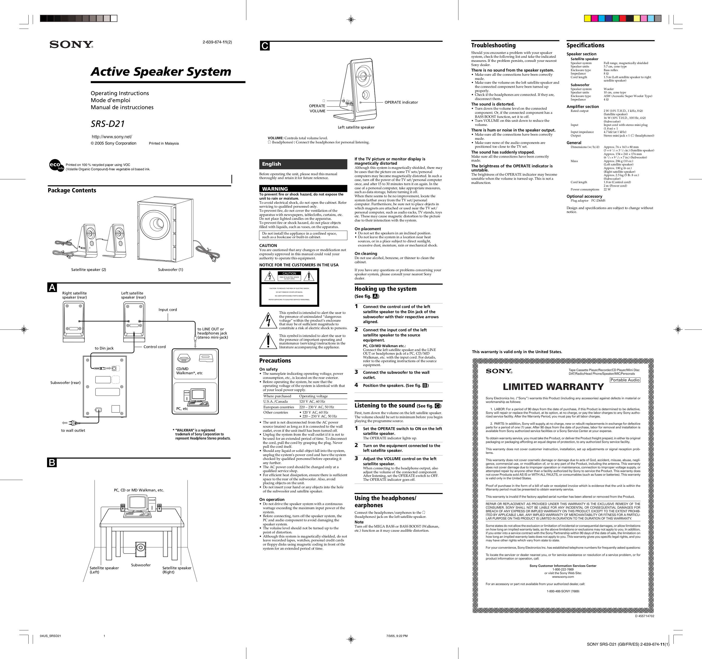 Download free pdf for Sony SRS-D21 Speaker System manual