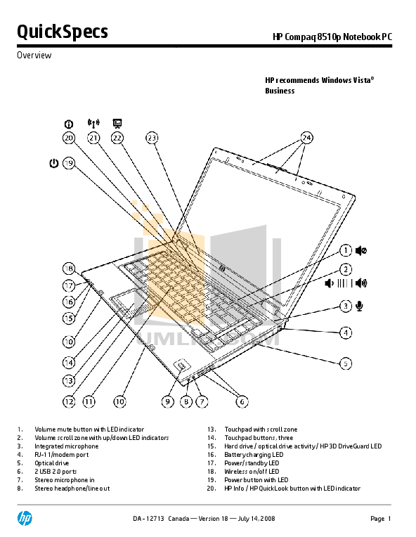 Download free pdf for HP Compaq 8510p Laptop manual