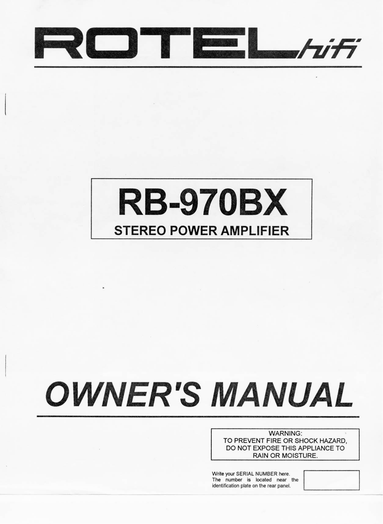 Download free pdf for Rotel RB-870BX Amp manual