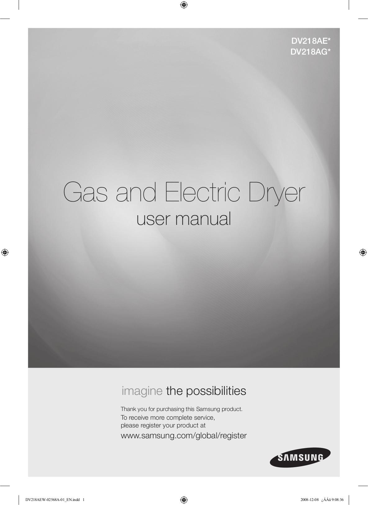 hight resolution of pdf for samsung dryer dv218ae manual