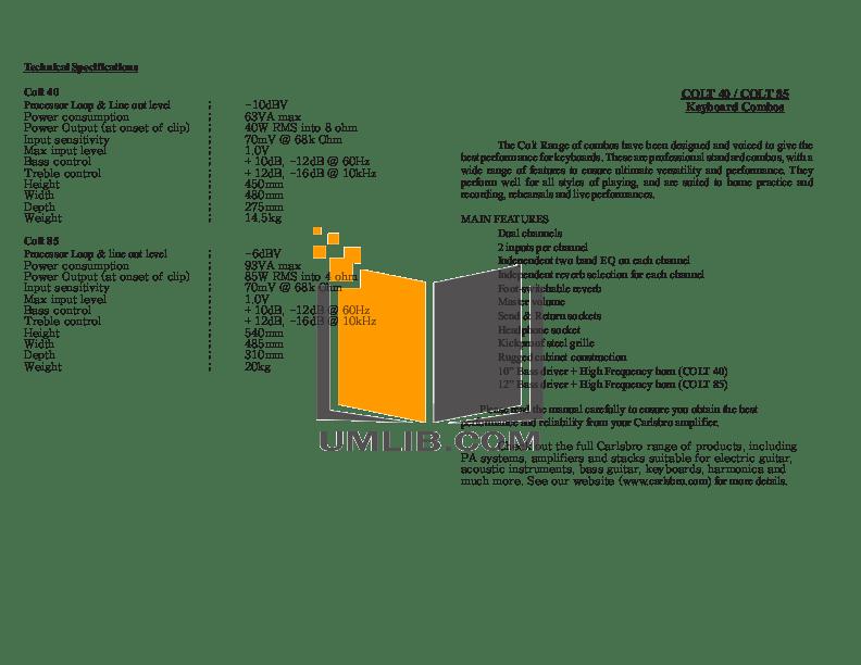 Download free pdf for Carlsbro Colt 40 Amp manual