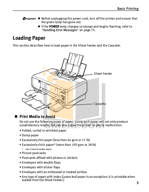 PDF manual for Canon Printer PIXMA iP4000R