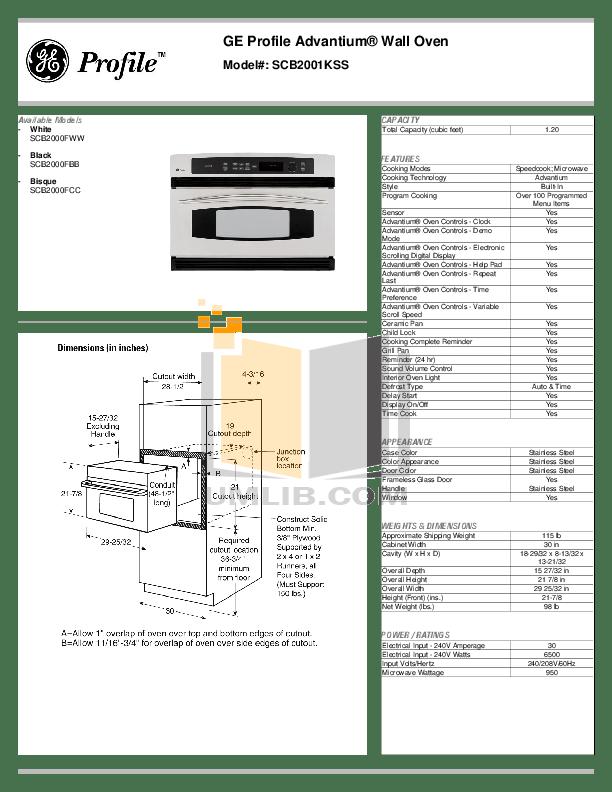 Download free pdf for GE Profile Advantium SCB2001KSS Oven
