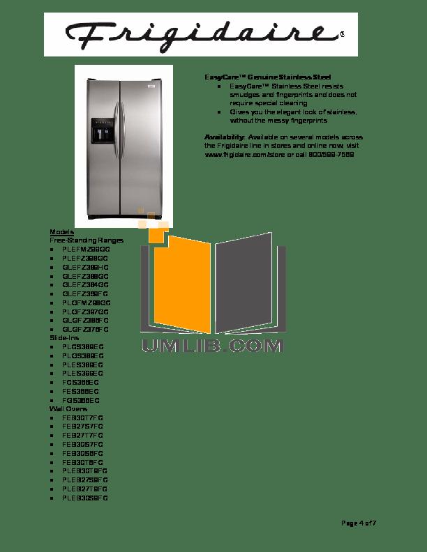 PDF manual for Frigidaire Dishwasher GLD2445RFC