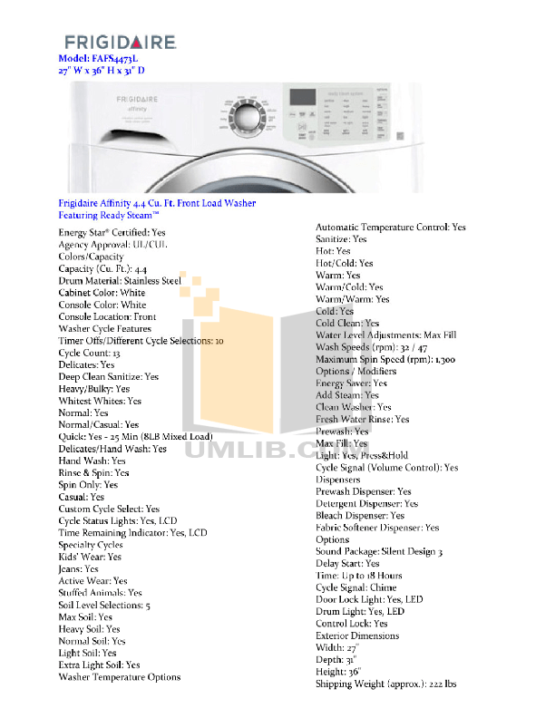 Download free pdf for Frigidaire Affinity FAFS4473L Washer