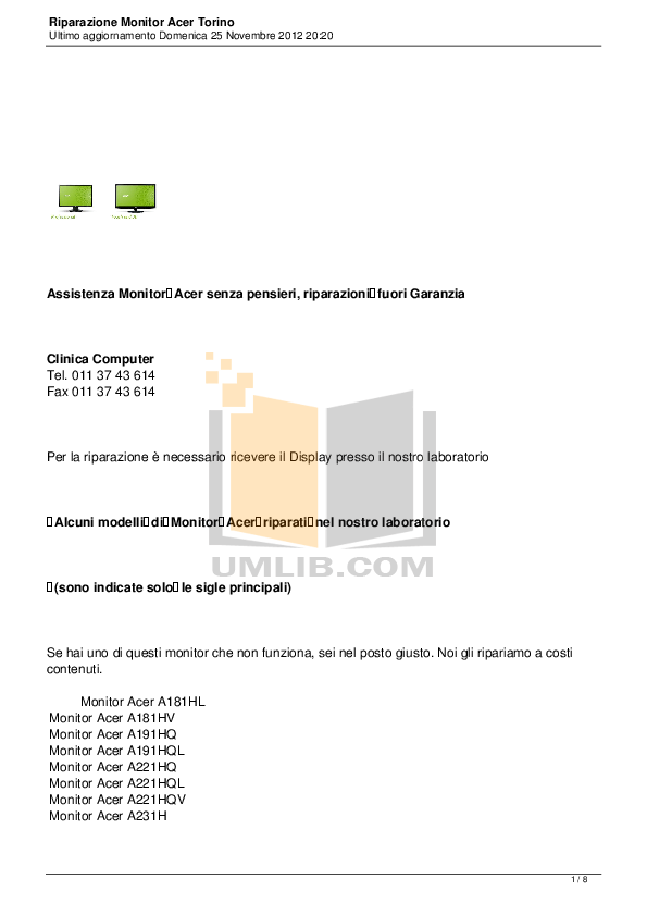 Download free pdf for Acer P186HL Monitor manual