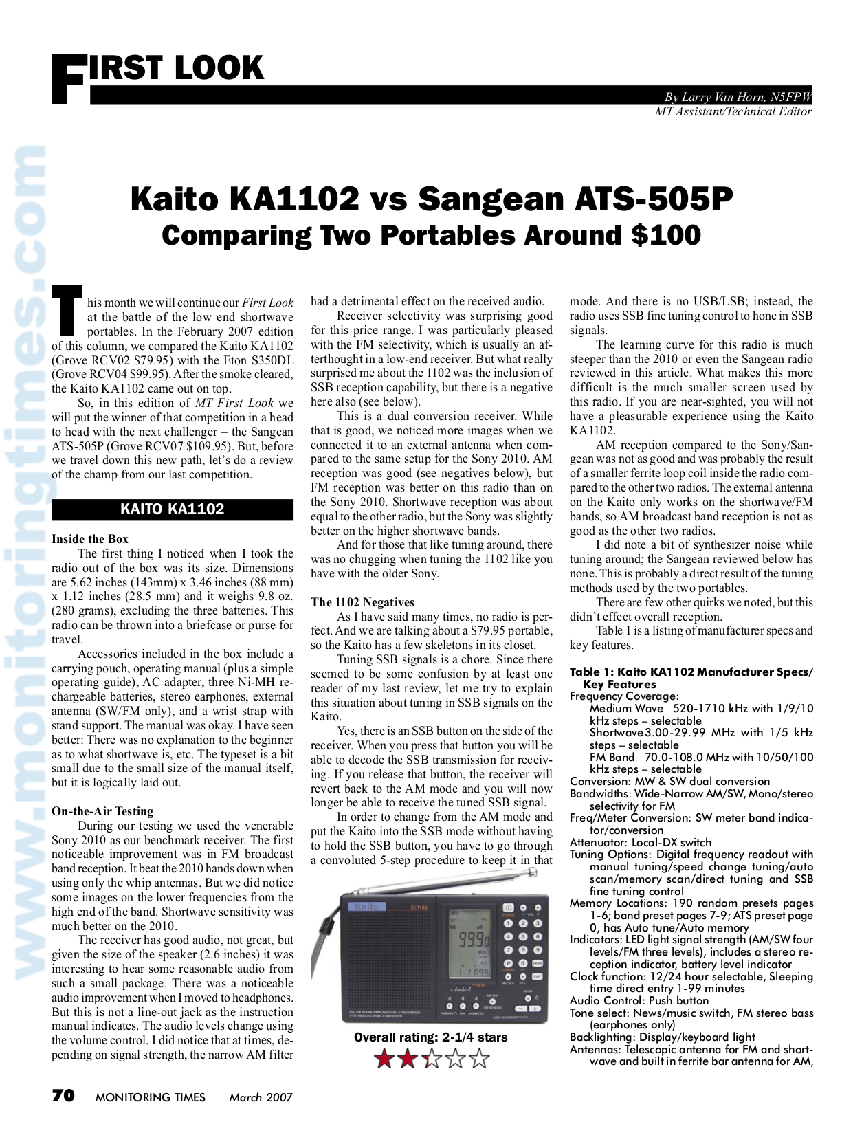 Download free pdf for Sangean ATS-505 Radio manual