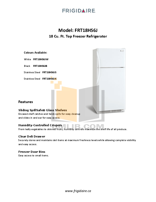 Download free pdf for Frigidaire FRT18HS6J Refrigerator manual