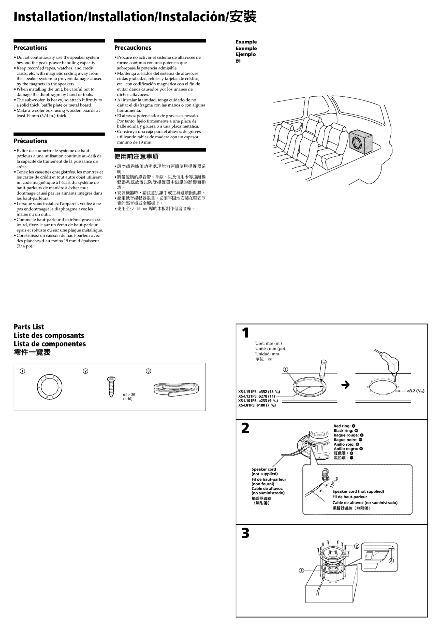 PDF manual for Sony Subwoofer Xplod XS-L121P5