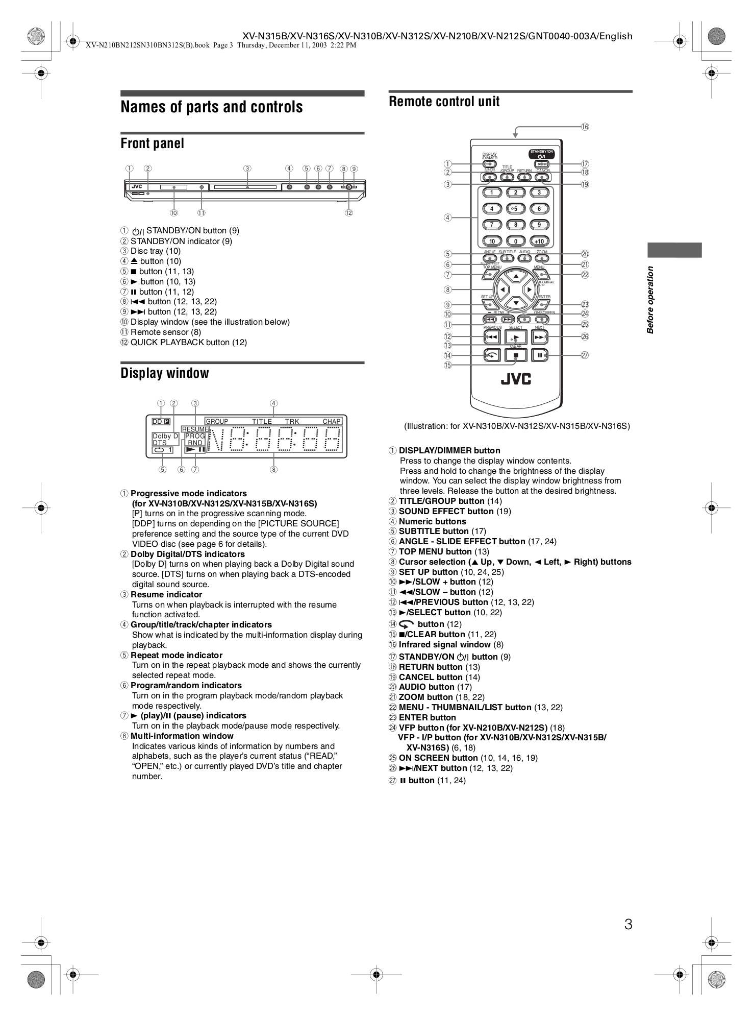PDF manual for JVC DVD Players XV-N312S