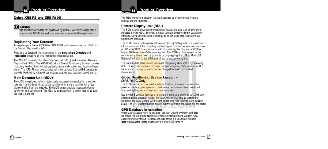 PDF manual for Cobra Radar Detector XRS R8