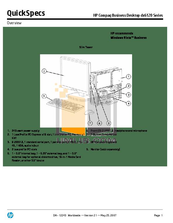 Download free pdf for HP Compaq dx6120 MT Desktop manual